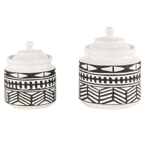Large Round Black and White Ceramic Jars w Eclectic Geometric Patterns Set of 2 - 7 x 7 x 9