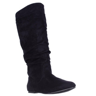Wanted Toucan Knee High Pull On Slouch Flat Boots - Black