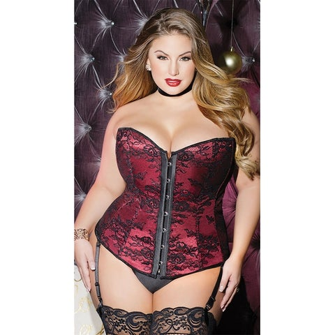 Plus Size Beautiful Brocade Corset - Merlot/Black