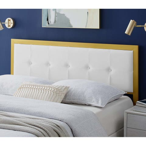 Panama Modern White Velvet Button Tufted Upholstered King Size Metal Headboard