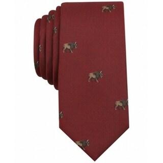 Bar III NEW Red Brown Men's One Size Bison-Print Novelty Neck Tie