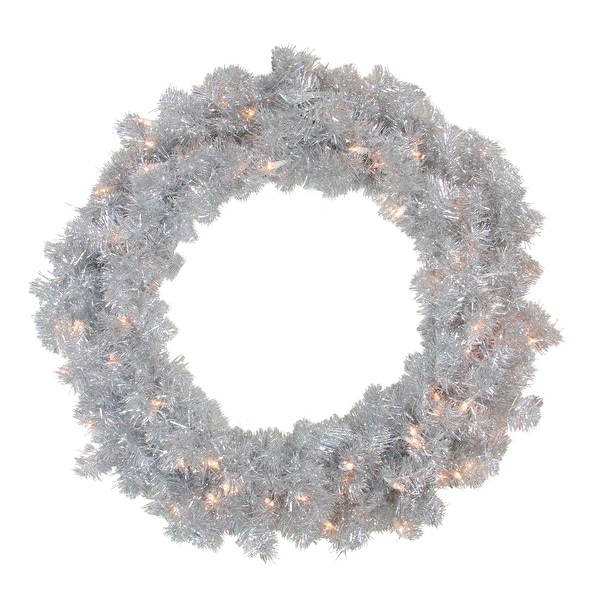 "30"" Pre-Lit Sparkling Silver Tinsel Artificial Christmas Wreath - Clear Lights"