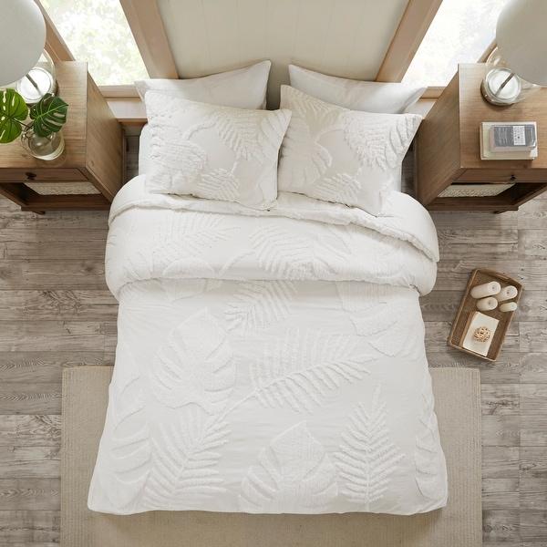 Madison Park Osanna White Tufted Cotton Chenille Palm Duvet Cover Set. Opens flyout.