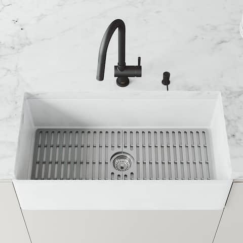 Matte Stone 36 in x 18 in White Reversible Single Basin Square Farmhouse Kitchen Sink Set