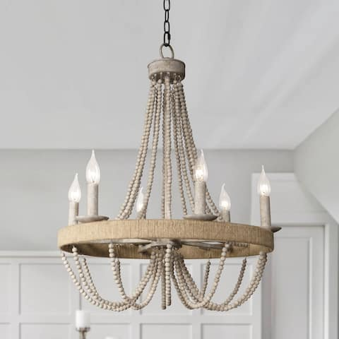 Aged Wood Beaded 6-Light Candle Chandelier