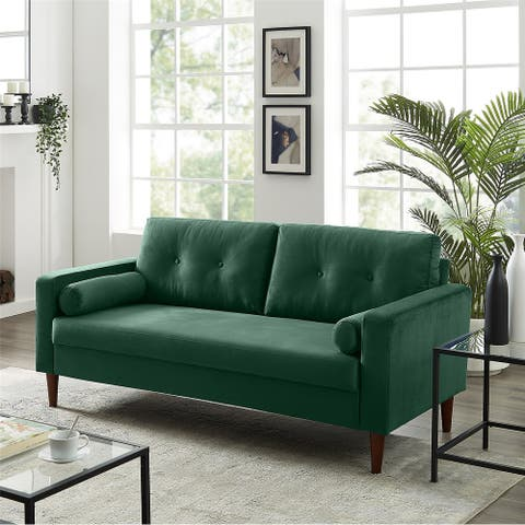 Loveseat Couch Sofa, Mid-Century Modern Upholstered Fabric Couch