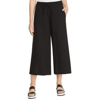 Eileen Fisher Womens Petites Cropped Pants 100% Organic Cotton Wide Leg