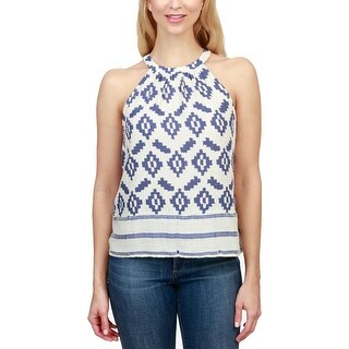 Lucky Brand Womens Halter Top Pleated Printed