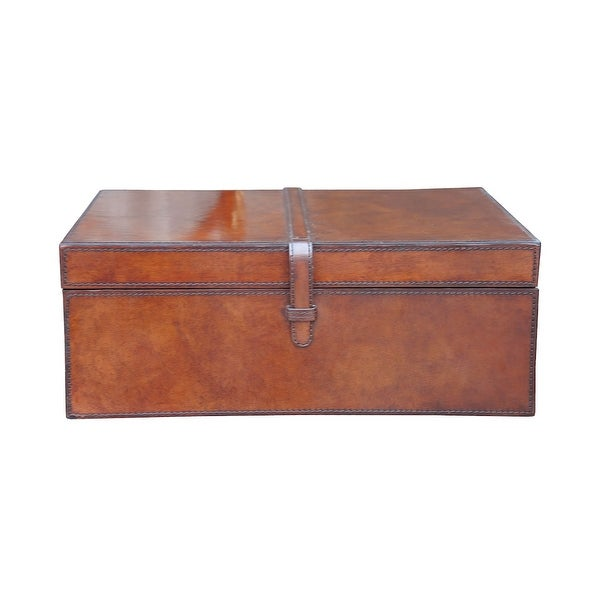 """GuildMaster 8819-027 16"""" Wide Leather Box - Brown"""