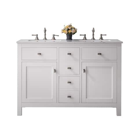 Totti Artemis 48-inch White Transitional Double Sink Bathroom Vanity