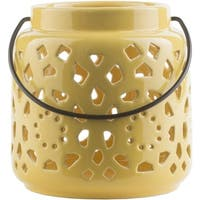 "6.5"" Madison Links Sunshine Yellow Ceramic Small Pillar Candle Holder Lantern"