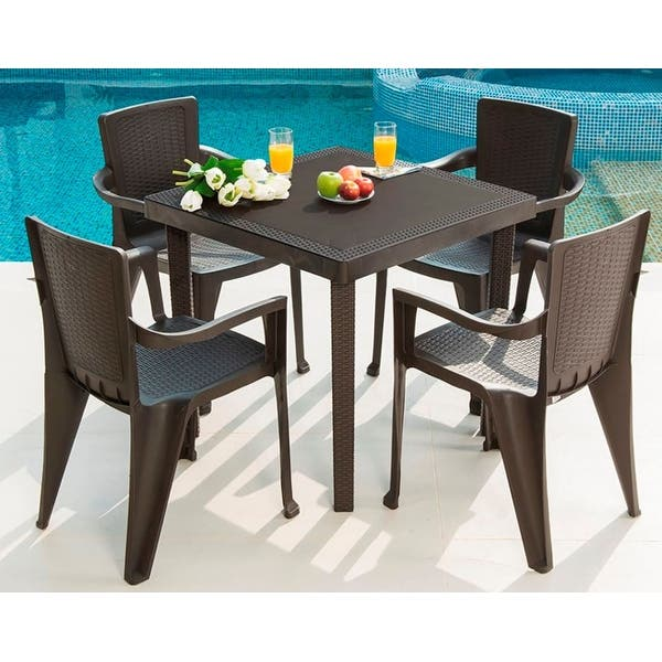 Mq Infinity Espresso 5 Piece Patio Dining Set On Sale Overstock 28913050