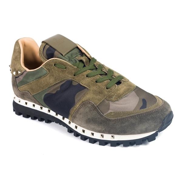 dc3e3b9da7 Shop Valentino Garavani Mens Green-Mix Camo Rockstud Sneakers - Free ...