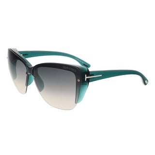 Tom Ford FT0457 87B POPPY Clear Teal Square Sunglasses - 67-10-135