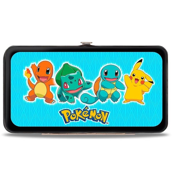 Pokmon Pikachu & Kanto Starter Pokmon Stripe Blue Poke Ball Monogram Hinge Wallet - One Size Fits most