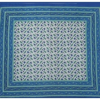 Paisley Print Cotton Tapestry Bedspread Tablecloth Wall Hang 64x90 Twin Full Blues