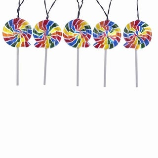 """30"""" Vibrantly Colored Glittering Finish LED Candy Swirl Lollipop Lights"""