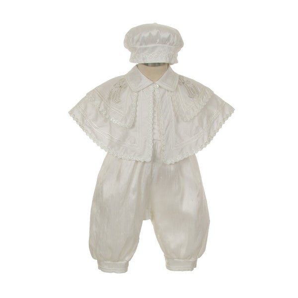 30794401c Shop Rain Kids Baby Boys White Silk Cross Cape Hat Baptism Romper Jumpsuit  6-12M - Free Shipping Today - Overstock - 23061427