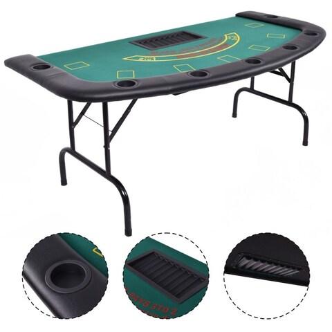 Costway Folded 7 Player Pocker Blackjack Table Texas Holdem Car Game W/ Chip&Cup Holder