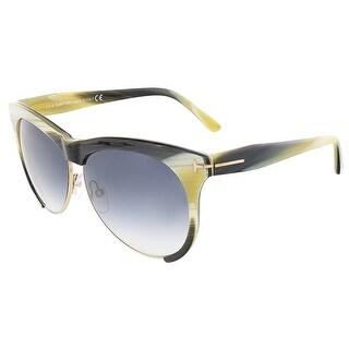 Tom Ford FT0365/S 60B LEONA Beige Horn Clubmaster sunglasses