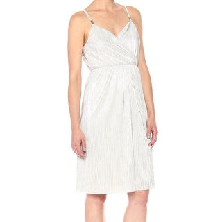 Guess Silver Womens Size 2 Surplice Pleated Shimmer Sheath Dress