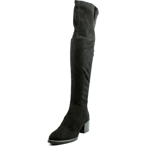 Calvin Klein Jeans Niviah Women Pointed Toe Suede Black Over the Knee Boot