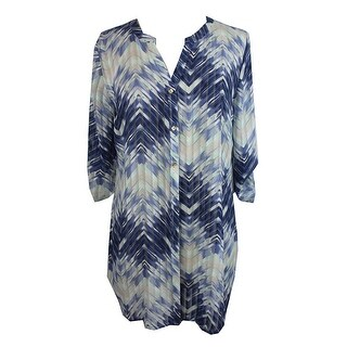 Jm Collection Blue Zigzag-Print Roll-Tab Tunic S