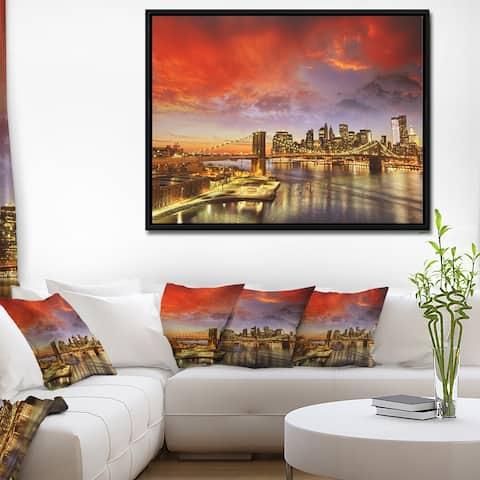 Designart 'Manhattan Skyline at Winter' Cityscape Photo Framed Canvas Print