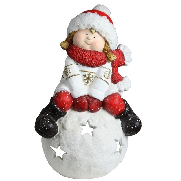 "19.25"" Christmas Morning Girl on a Snowball Christmas Tealight Candle Holder - RED"