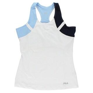 Fila Womens Contrast Racer Back Tank White - white/navy blue/light blue - md