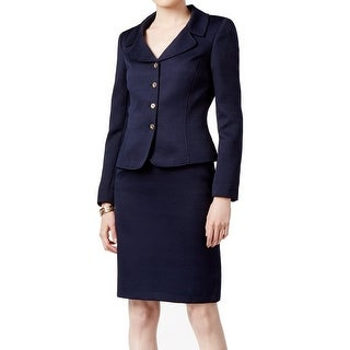 Tahari By ASL NEW Blue Women's 8 Notch Collar Jacquard Skirt Suit Set