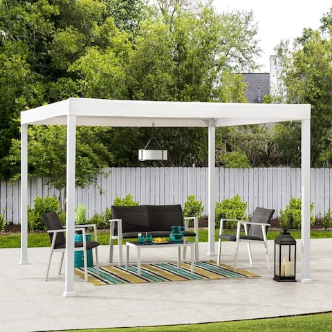 Sunjoy 10 ft. x 10 ft. Modern White Steel Gazebo
