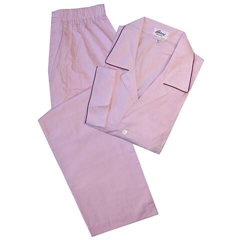 Brioni Mens Pink Micro Check Striped Pajamas