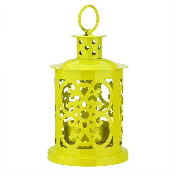 """5.5"""" Shiny Yellow Mini Votive or Tealight Candle Holder Lantern with Dot and Scroll Cutouts"""
