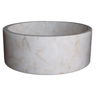 Cylindrical Natural Stone Vessel Sink - Afyon White Marble