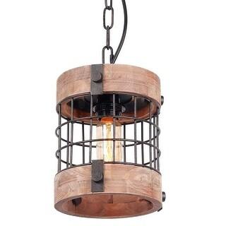 Single vintage industrial rustic pendant light fixture, circular wood black antique chandelier