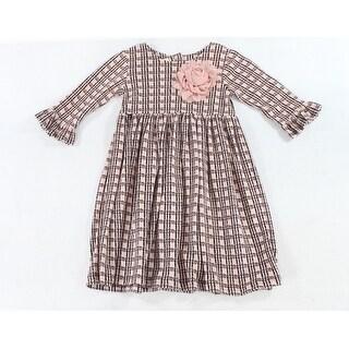 Laura Ashley NEW Pink Girls Size 5 Floral-Applique Plaid Knit Dress