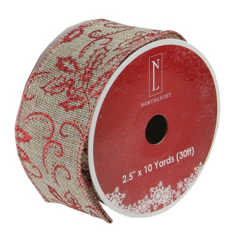 """Red and Beige Wired Christmas Craft Ribbon 2.5"""" x 10 Yards"""