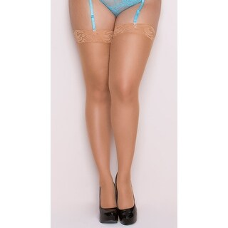 Plus Size Lace Top Stockings, Plus Size Sheer Stockings With Lace Top - xlarge