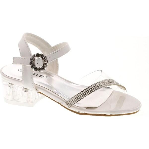 Link Sui-08K Girl's Rhinestone Clear Upper Lucite Heel Sandals