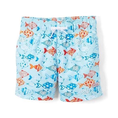 Azul Boys Light Blue Fish Print Elastic Band Drawstring Swim Shorts