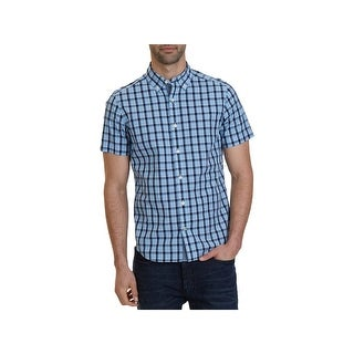 Nautica Mens Big & Tall Button-Down Shirt Plaid Casual - lt