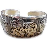 Lucky Five Elephant Cuff Bracelet