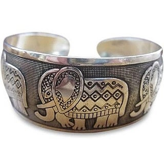 Lucky Five Elephant Cuff Bracelet
