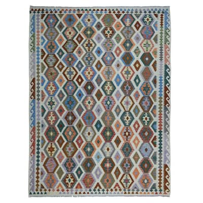 """Hand Knotted Multicolored Flat Weave with Wool Oriental Rug (8'5"""" x 11'6"""") - 8'5"""" x 11'6"""""""