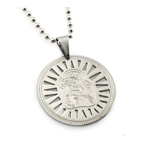 Stainless Steel Mother Mary & Baby Jesus Disc Pendant - 24 inches