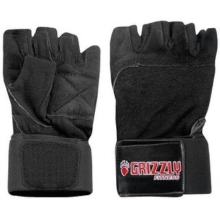 Grizzly Fitness Power Paw Leather Wrist Wrap Training Gloves - Black