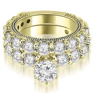 4.15 CT Antique Milgrain Round Cut Diamond Engagement Set in 14KT Gold - White H-I