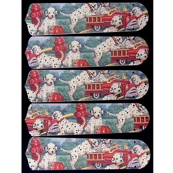 Firetrucks and Dalmatians Custom Designer 52in Ceiling Fan Blades Set - Multi