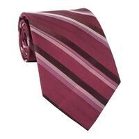 Calvin Klein Steel Carousel Striped Classic Silk Neck Tie Burgundy